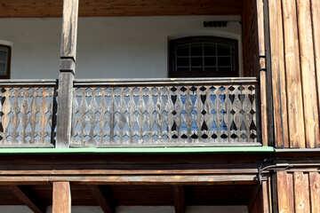 Ancient wooden balcony №41906