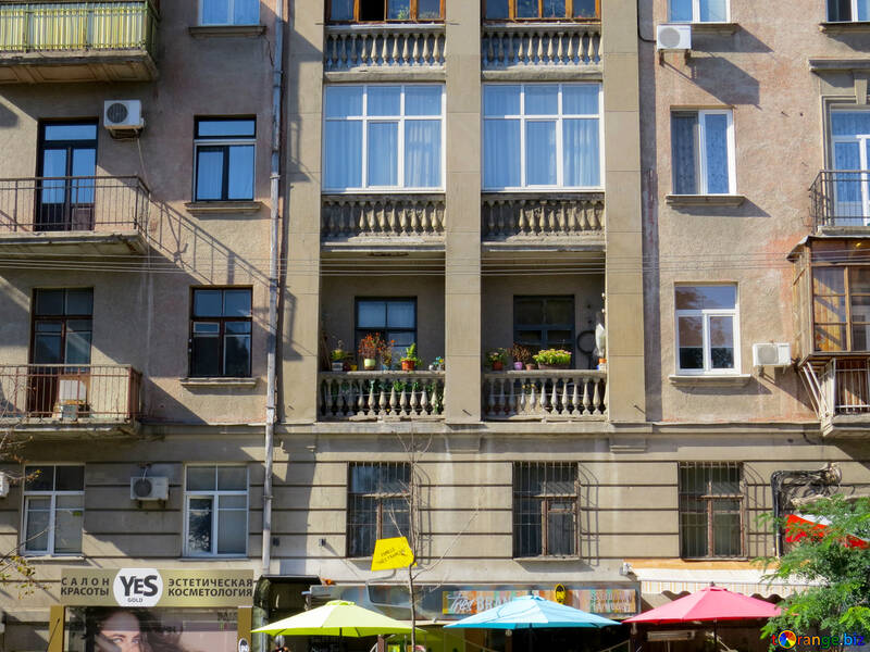 Front of the house with different windows and balconies №41011