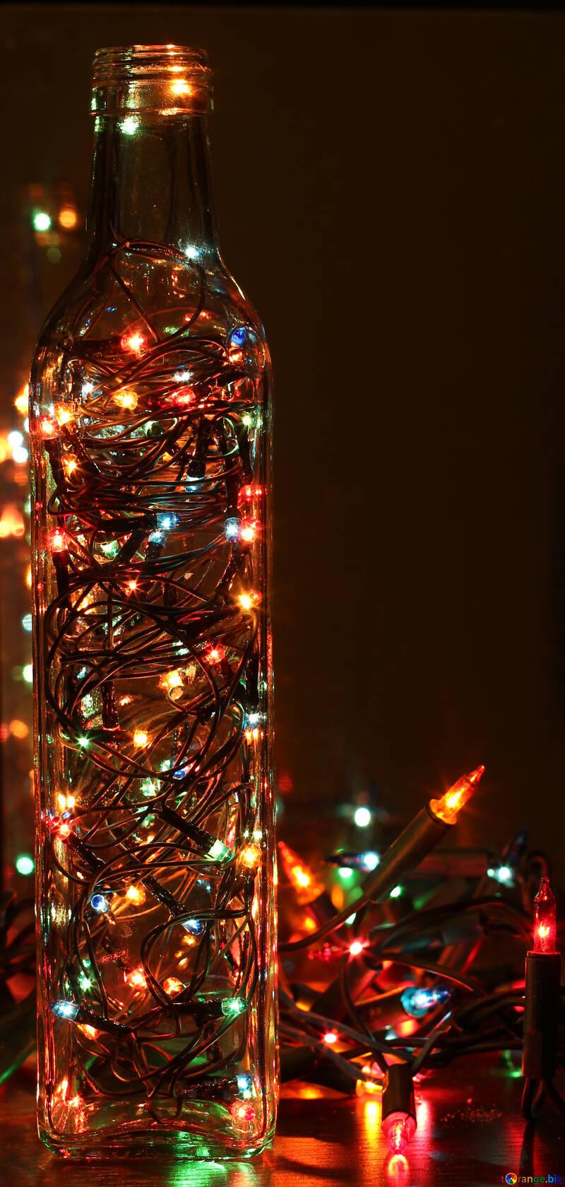 Новогодняя поделка гирлянда в бутылке светильник №41278