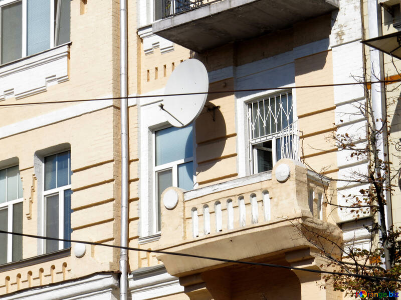 Satellite dish on the old balcony №41037