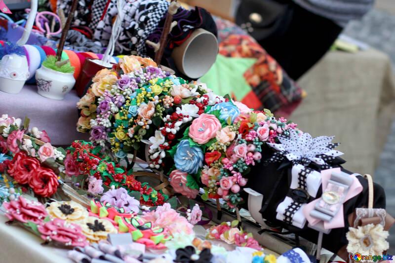 Flores de tela recuerdos de Ucrania №41572