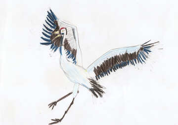 Baby drawing stork dance №42760