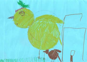 Children drawing big bird №42778