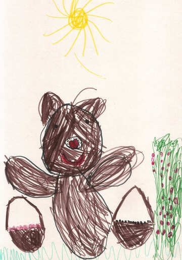 Children`s drawing bear collect berries №42748