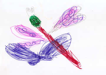 Children`s drawing butterfly and dragonfly №42785