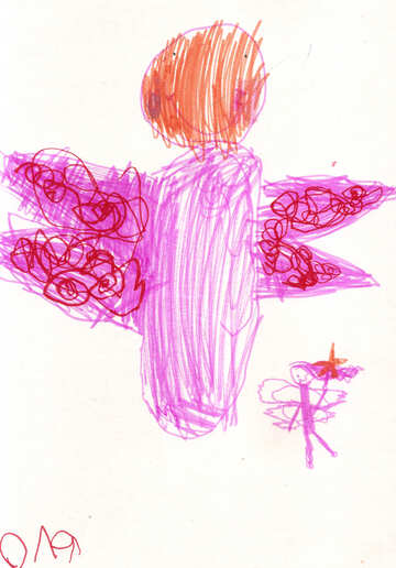 Children`s drawing butterfly and fairy №42788