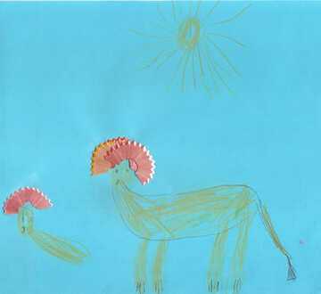 Children`s drawing lion mane №42791