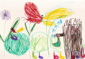 Children`s drawing a caterpillar №42798