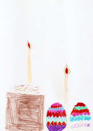 Child`s drawing Easter still life №42758