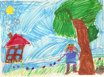 Child`s drawing house in the village №42740