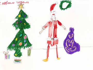 Child`s drawing of Santa Claus №42705