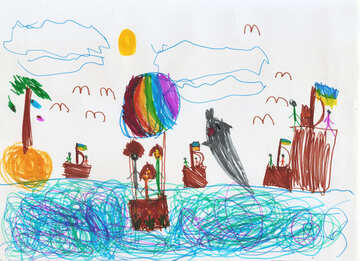 Child`s drawing of the sea vacation №42796