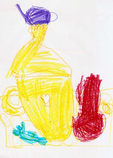 Children`s drawing still life samovar №42803
