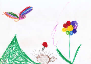 Children`s drawing butterfly and flower №42825