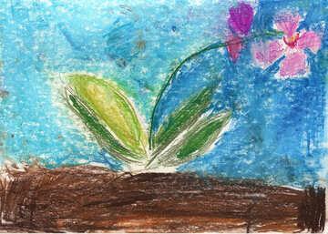 Children`s drawing a flower №42870