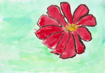 Children`s drawing a red flower №42710
