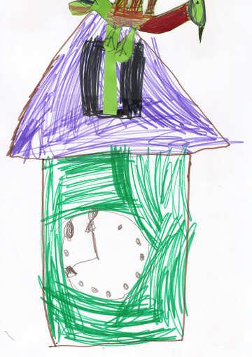 Children`s drawing a cuckoo clock №42797