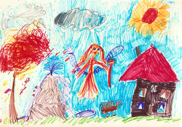 Children`s drawing fairy near the house №42731