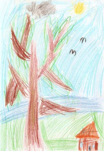 Kinderzeichnung einen Baum in der Nähe des Hauses №42728