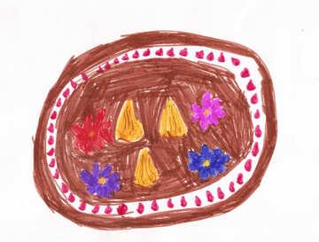 Children`s drawing a flower garden №42719