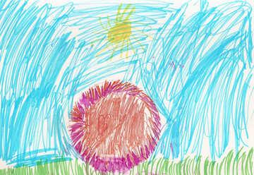 Children`s drawing a flower under the sun №42781