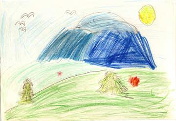 Kinderzeichnung Berge №42732