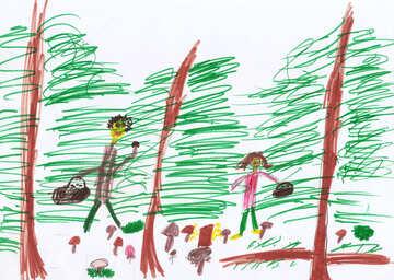Kinderzeichnung Pilze sammeln №42881