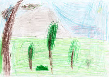 Children`s drawing palm trees near the sea №42836