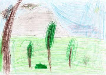 Kinderzeichnung Palmen am Meer №42836