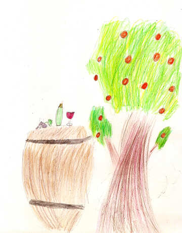 Children`s drawing a picnic in the woods №42702