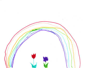 Children`s drawing a rainbow and flowers №42718