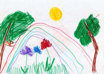 Children`s drawing a rainbow and flowers №42845