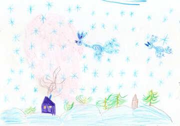Kinderzeichnung Winter №42730
