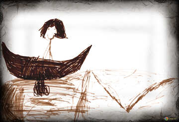 Children`s drawing in a boat ride №42794