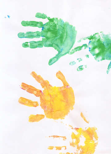 Children`s drawing colored children`s hands №42817