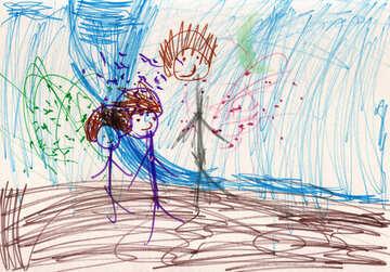 Children`s drawing Fairy and children №42773
