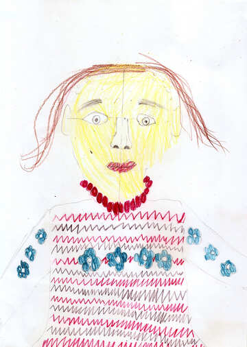 Children`s drawing a portrait of mom №42684