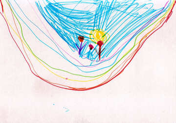 Children`s drawing skating on rainbow №42770