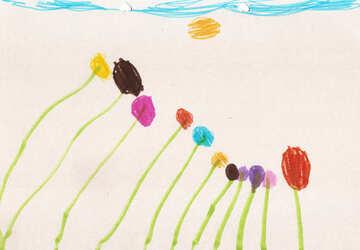 Kinderzeichnung Blumen №42853