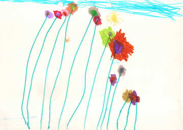 Children`s drawing flowers №42860