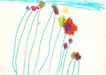 Kinderzeichnung Blumen №42860