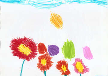 Children`s drawing flowers asters №42852