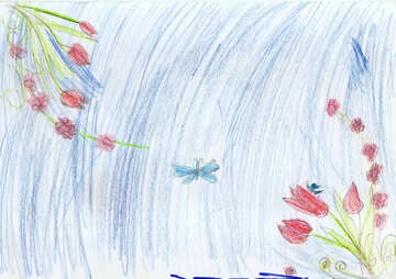 Children`s drawing card with flowers №42725