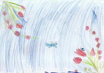 Kinderzeichnung Karte mit Blumen №42725