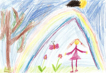 Children`s drawing the flowers under a rainbow №42727