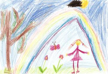 Kinderzeichnung, die Blumen unter einem Regenbogen №42727