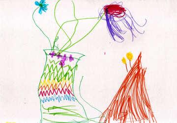 Kinderzeichnung, die Blumen in einer Vase №42771