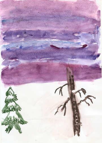 Kinderzeichnung Winterhimmel №42713