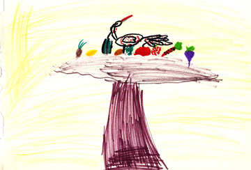 Children`s drawing fruit on the table №42734