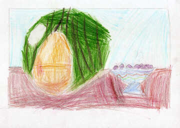 Children`s drawing still life with watermelon №42681